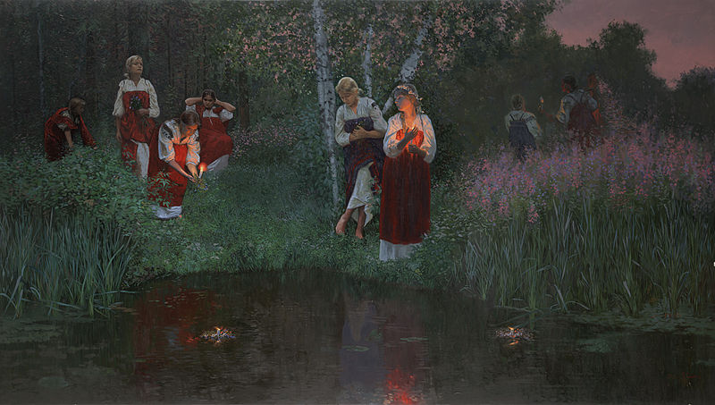 Ivan Kupala. Fortunetelling on the wreaths. Wood with levkas, oil. 85 x 150 cm